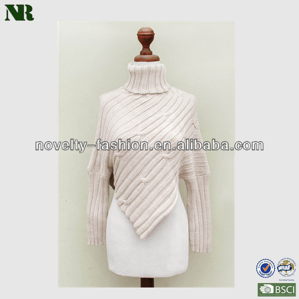 Ladies Beige Turtleneck Mexican Cotton Knit Poncho