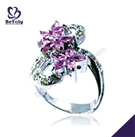Purple tone flower shape spring theme silver napkin rings