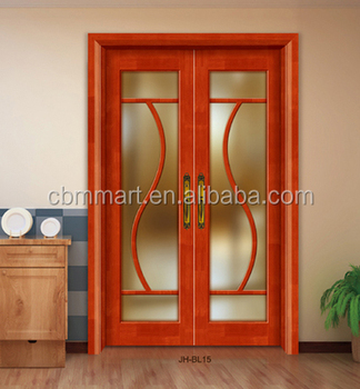 One Stop Solution Customized Modern Double Glass Wooden Main Door