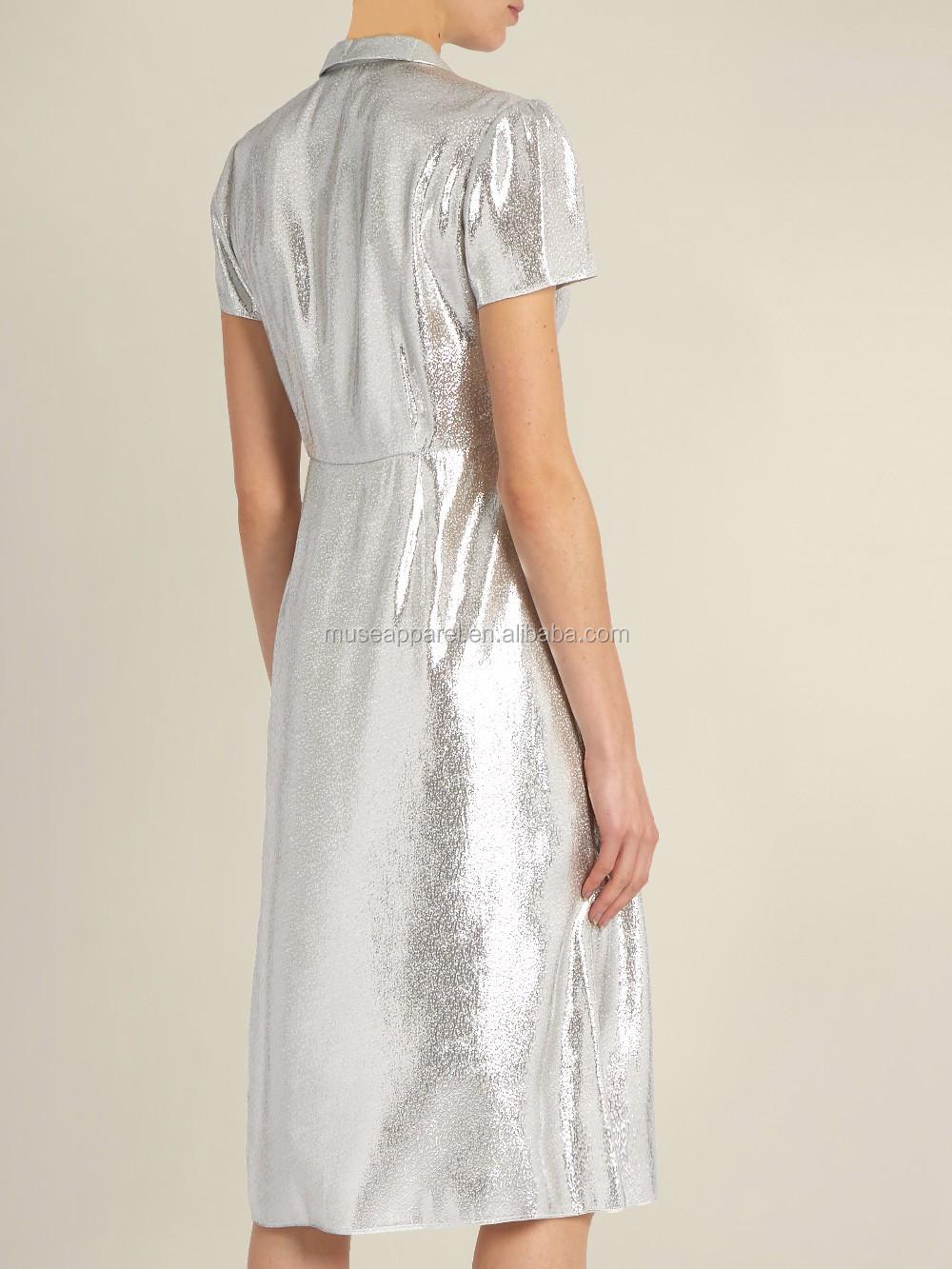 661158195e25 Silver Short Sleeved Lame Dress OEM/ODM Women Apparel Clothing Garment  Wholesaler Ropa Mujer