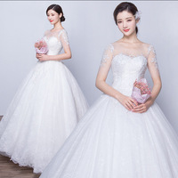 WTY65 Bridal Sequin A Line Lace Wedding Dress 2016 Weeding Tulle Cap Sleeve Long Wedding Gown
