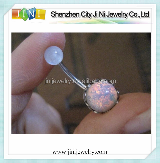double opal navel belly piercing jewelry