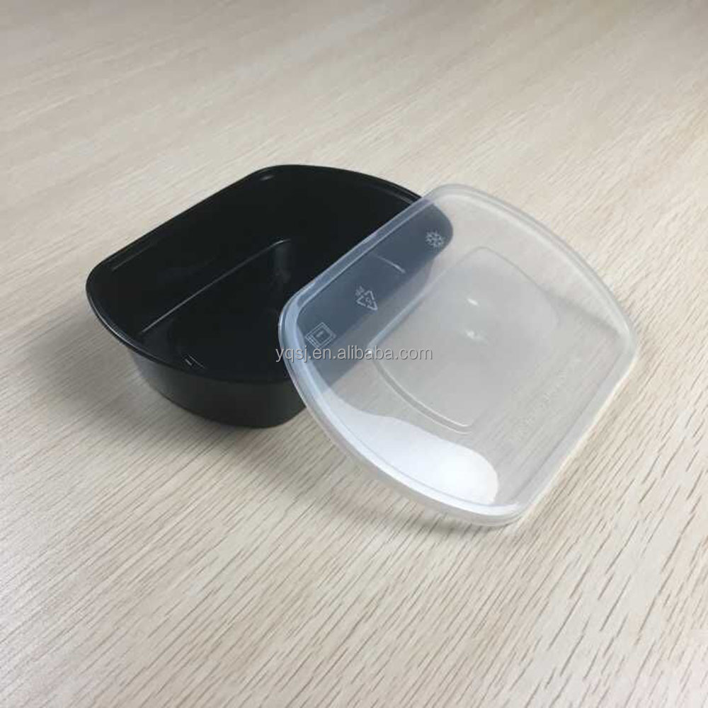 650ml/23oz black oval disposable plastic food / lunch / salad packaging / storage container / box suppliers / company