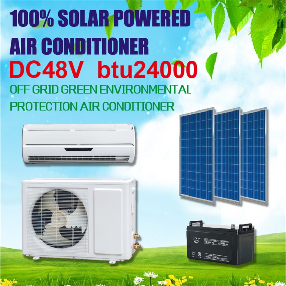 Solar Air Conditioner 48V DC 24000BTU Batteries Powered Pure Solar Air Conditioning
