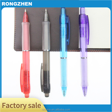 Plastic transparent ballpoint pen with rubber antiskid sleeve