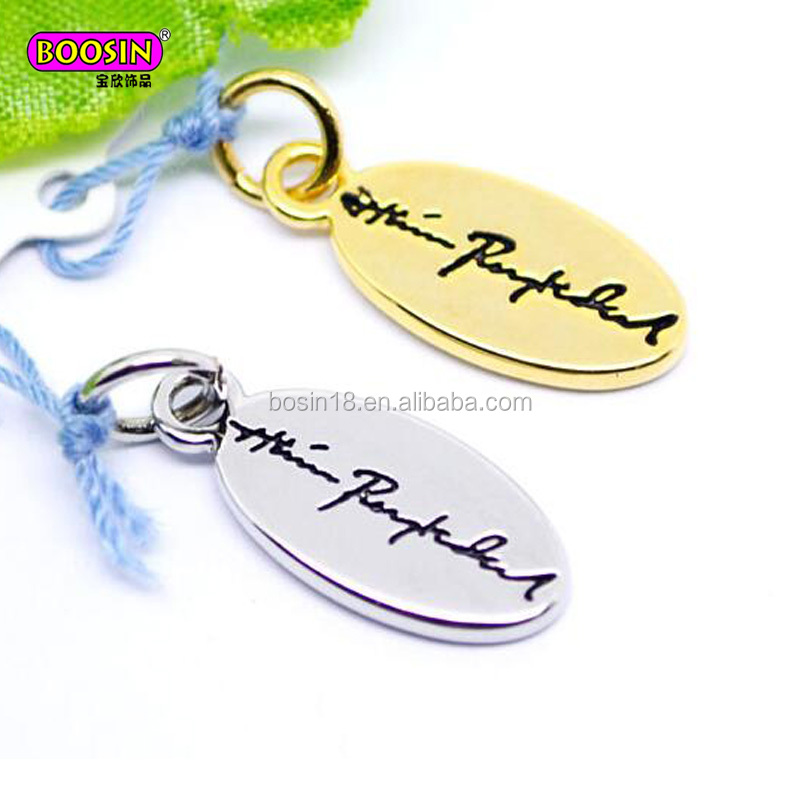12*7mm custom oval metal logo engraved jewelry tag for bracelet #13775