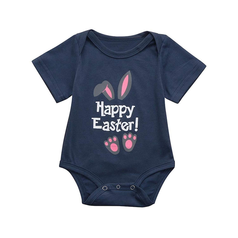 e08579da30c Get Quotations · Infant Baby Boys Girls Easter Letter Cartoon Rabbit Print Romper  Jumpsuit Outfit