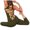 Ladie's Sexy Lace up Bandage Back Sports Yoga Suit