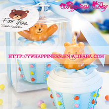 Cute Baby Bear-inspired Delectable Blue Cupcake Candle Baby Birthday Party Gifts