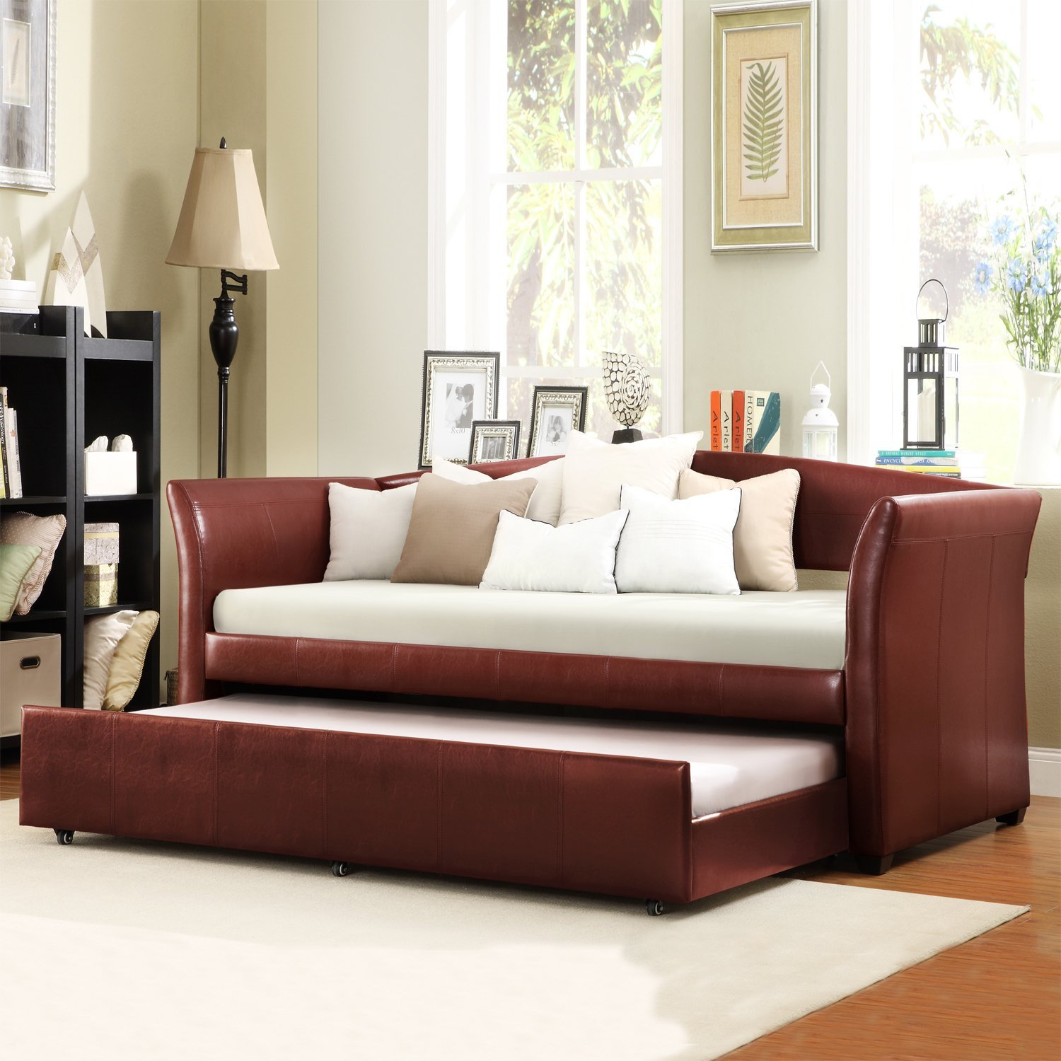 Metro Shop TRIBECCA HOME Deco Wine Red Faux Leather Daybed with Trundle-Deco Wine Red Vinyl Daybed with Trundle