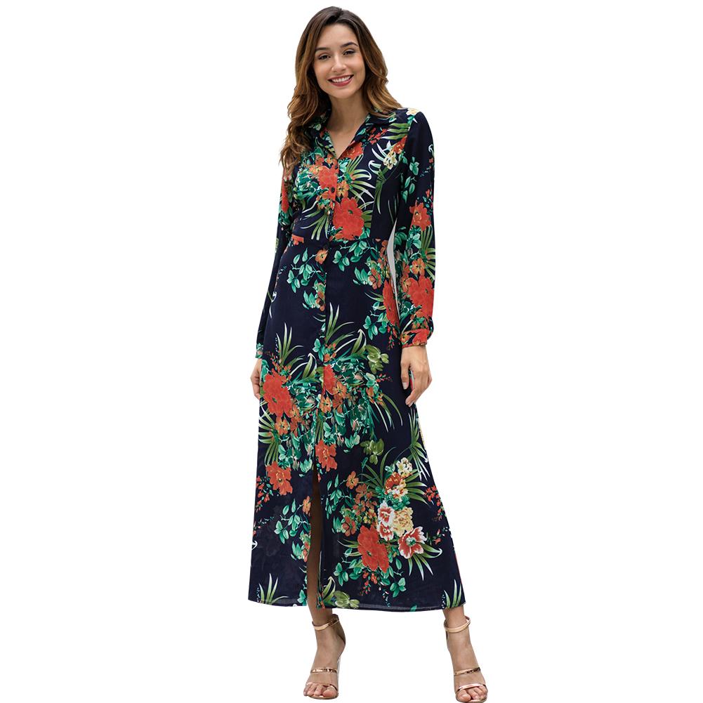 Produsen Pabrik Yileya Wanita Gaun Bunga Wanita Lengan Panjang Gaun Smart Casual, Bunga Gaun Maxi