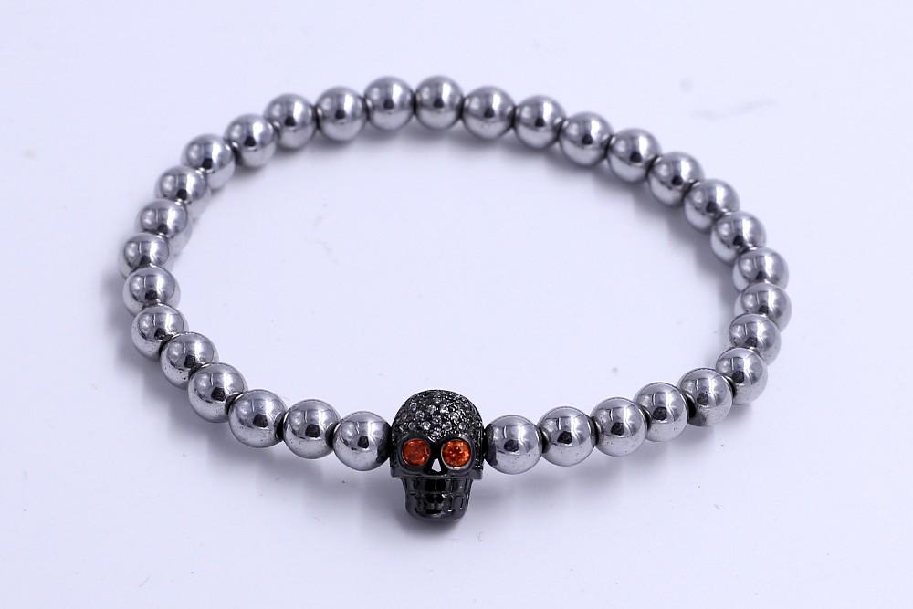 custom 4 color ssl bead bracelets cz skull