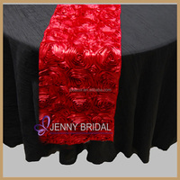 TR003C high quality red satin rosette table runner for round tables