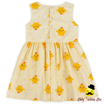 ded8e0132072 Lovely Baby Girl Summer Dress Sleeve Printed Cute Chick Embroidery ...