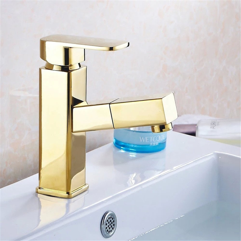 FHLYCF Basin faucet, full copper retro gold, pull pull type faucet, washbasin, washbasin, bathroom cabinet, hot and cold water tank faucet