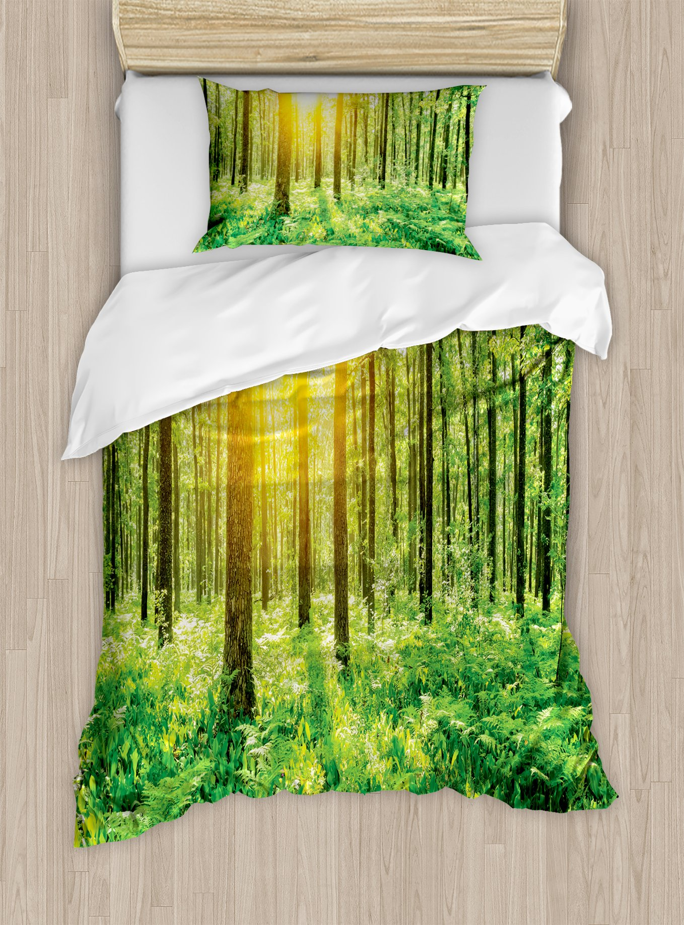 Ambesonne Woodland Duvet Cover Set Twin Size, Forest Springtime Freshness Theme Foliage Sunbeams Sunrise Nature View Scene, Decorative 2 Piece Bedding Set with 1 Pillow Sham, Green Yellow