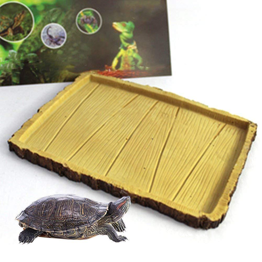 Mokook Reptile Water Dish for Amphibian Tortoise Turtle Gecko Snake Lizard Iguana Frog Water Food Feeding, 7.28x5.5x0.59 inch(LWH)