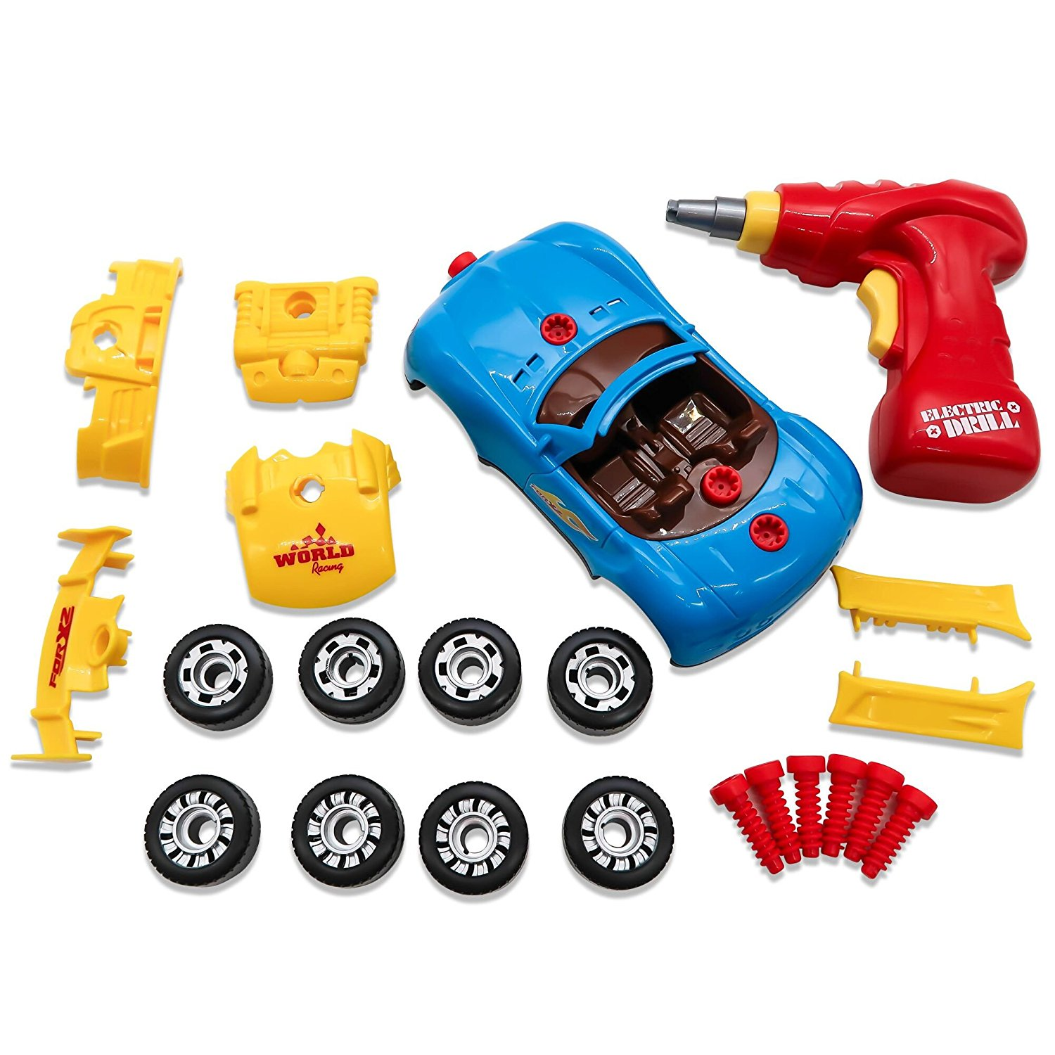 TOAOB Take Apart Toy Racing Car Kit with 30 Take Apart Pieces Tool Drill Lights and Sounds For Kids