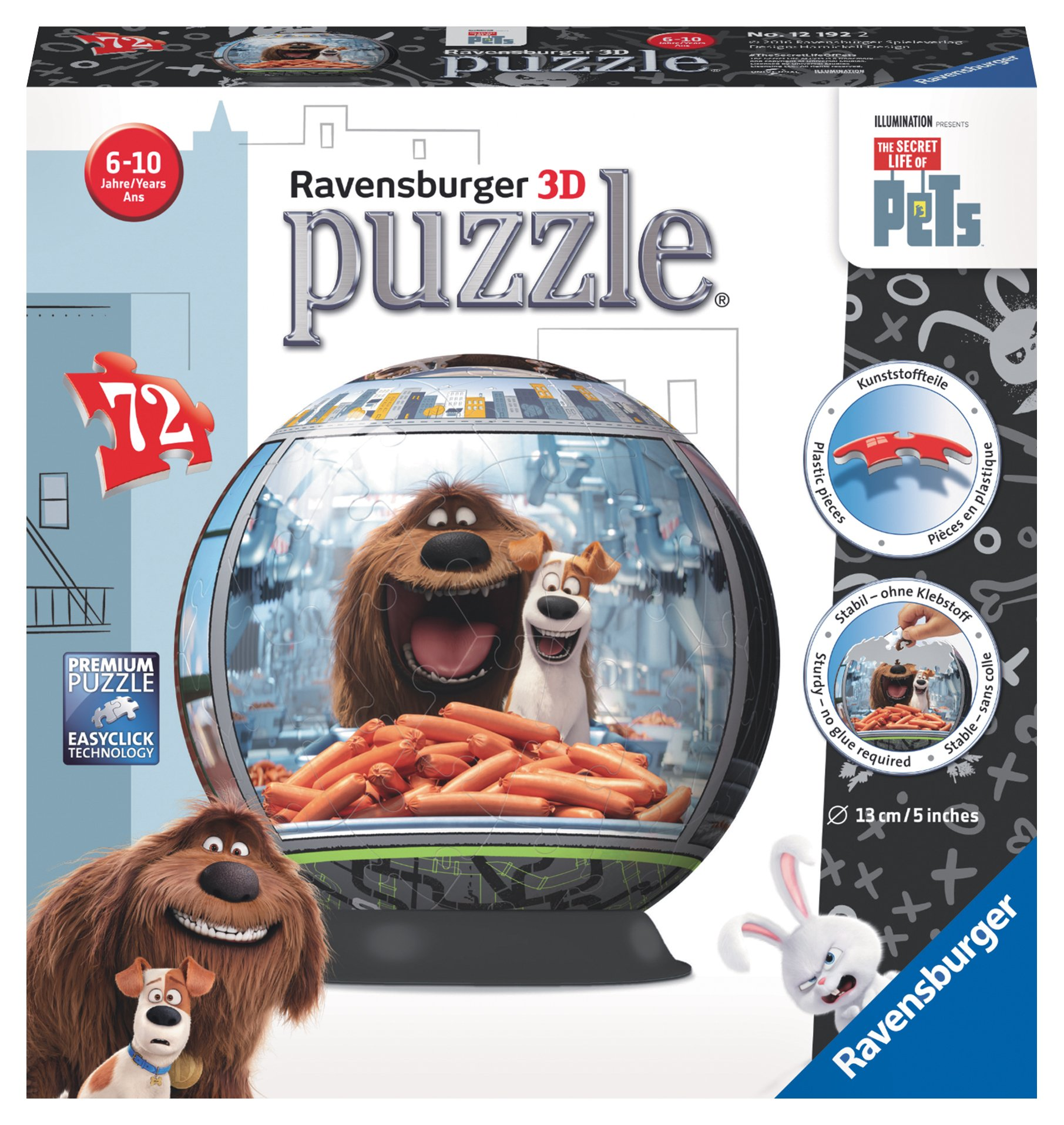 8a793f74fd1 Get Quotations · Ravensburger The Secret Life of Pets 72 Piece 3D Jigsaw  Puzzle Ball for Kids and Adults