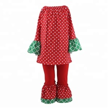 Children boutique clothing newborn baby clothes chevron polka dot ruffle girls Christmas outfits