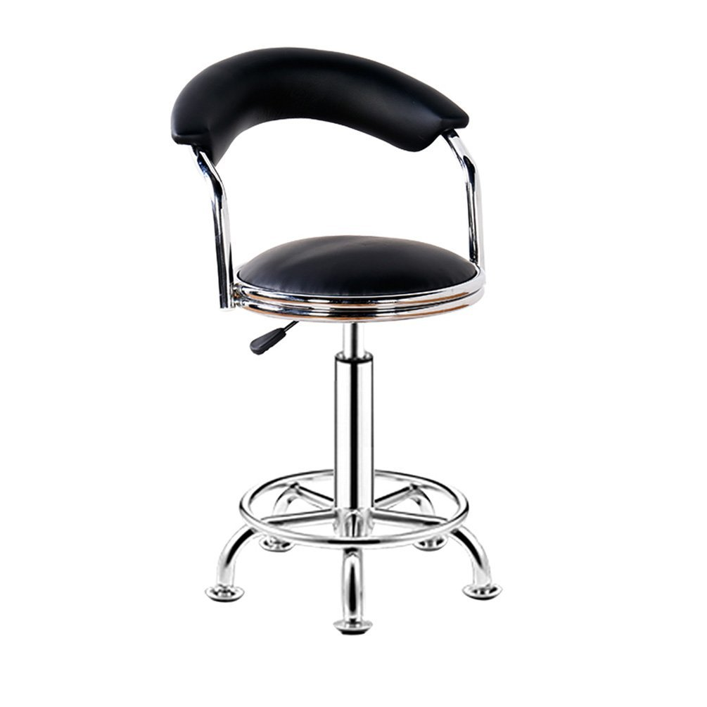 Decorative stool Bar Chair, Round Stool Household Beauty Salon Stool Backrest High Chair Steering Chair Reception Desk Chair Rotatable Liftable Chair Lift height 44-56cm (Color : Black)