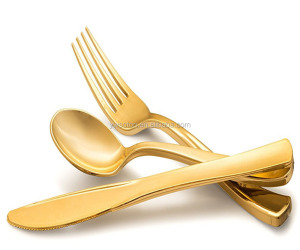 Disposable Metallic Like Gold Plastic Cutlery Silver & Gold Forks, Knives and Spoons