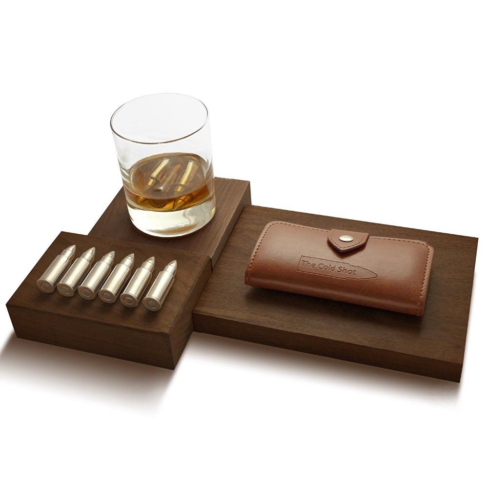 6 pièces en forme de balle 304 en acier inoxydable glaçons, Whisky balle pierres coffret cadeau dans le portefeuille