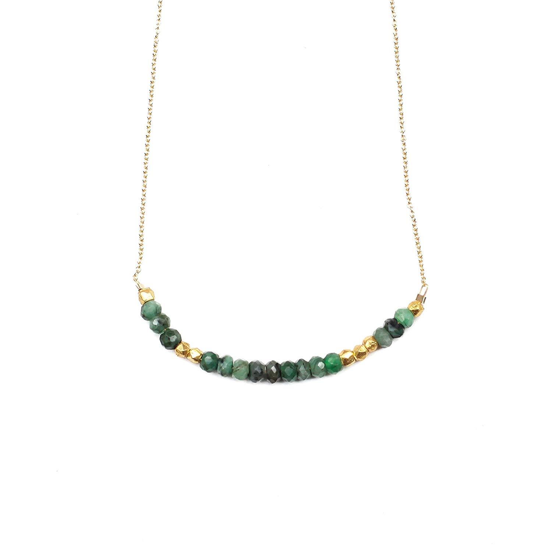 "Morse Code Necklace ""LOVE"" in Emerald"