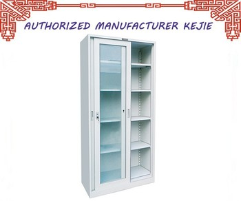 UAE Style Library Furniture Steel Display Cabinet Glass Doors Metal Filing  Cupboard