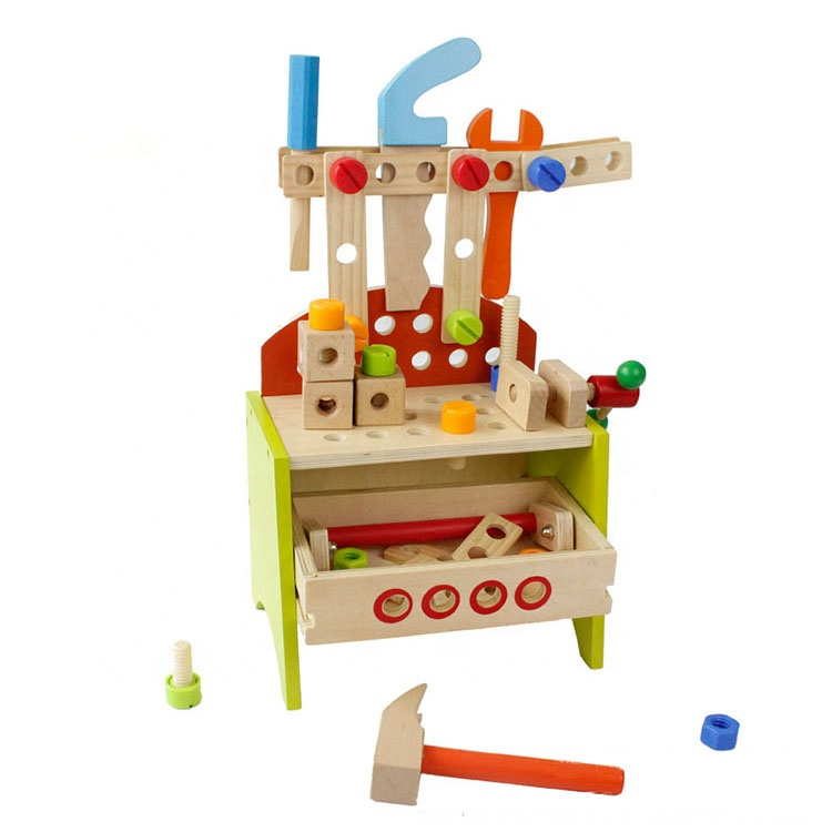 Kids Popular Wooden Playing Tool Table Big Foldable Work Bench Toy