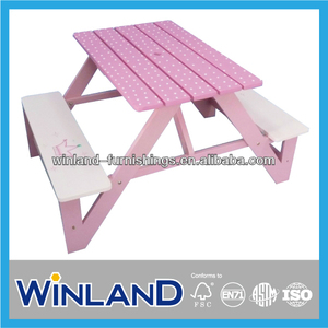 Kids Wooden Antique Pink Design Picnic Table