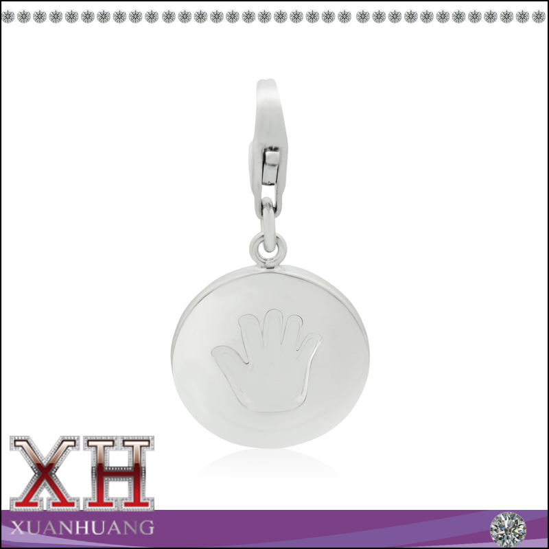 Fashion charms hand print 925 sterling silver pendants