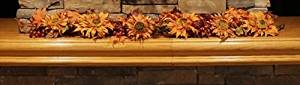 NorthLight 5 ft. Autumn Fall Harvest Sunflower And Leaves Artificial Silk Floral Garland - Unlit