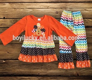 Long Sleeve Kids Clothes Wholesale Children Boutique Clothing Girls Fall Boutique girls Outfit with turkey for Thanksgiving