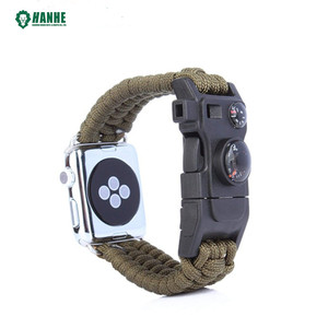 Wholesale Azo free & Nickel free 100% handmade paracord custom apple watch strap with compass, thermometer and whistle