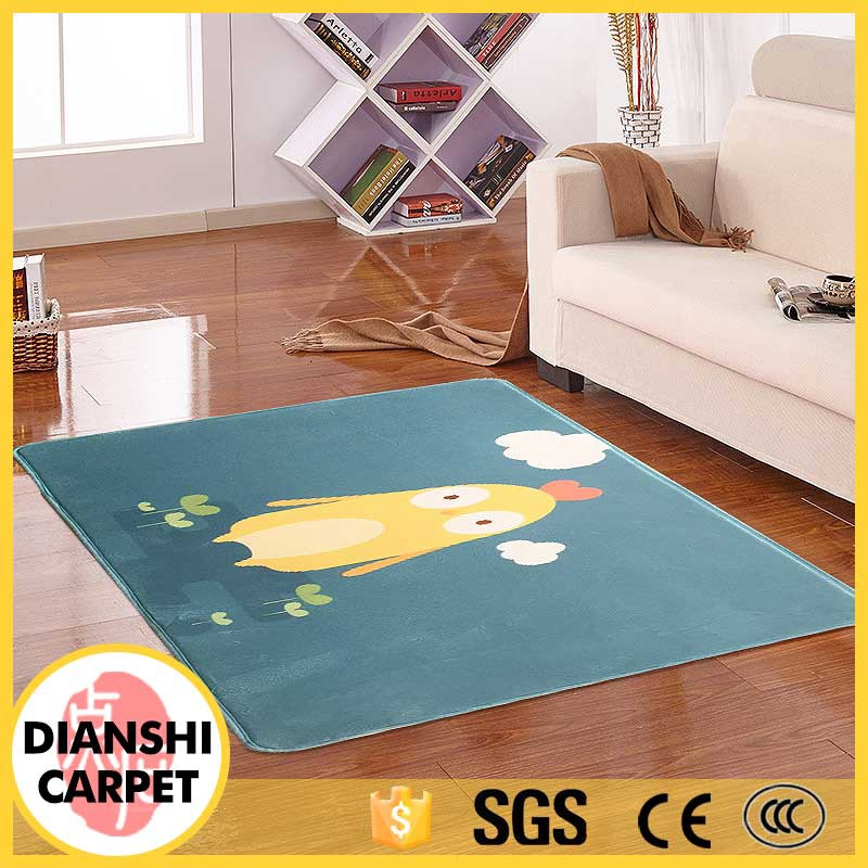 Polyester Point Plastic Backing Rugs Printed Kids Carpet
