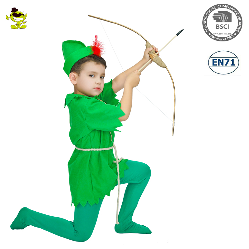 A kids carnival party cute fairy tale Peter Pan cosplay costume for boys
