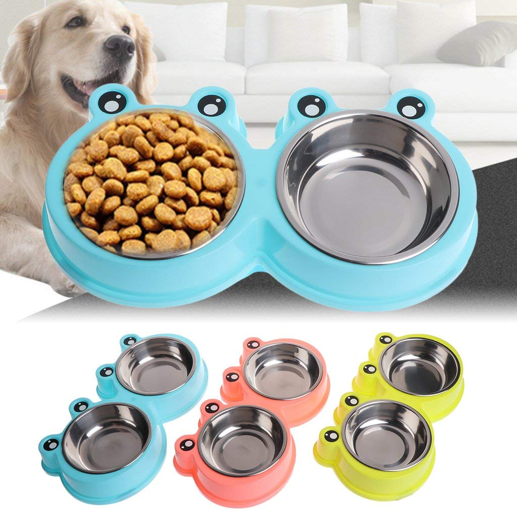 GMSP Fashion Cute Pet Dogs Cats Double Cute Cartoon Frog Bowls, Stainless Steel Food Water Feeder. (Pink)