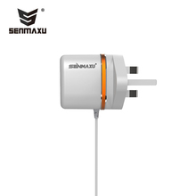 SENMAXU dual USB ports and cable UK pin wall charger super fast mobile travel recharger for android wholesale smx-019