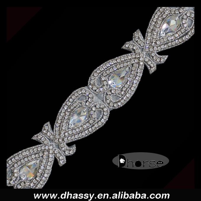 Wholesale fashion beaded crystal belt sash bridal rhinestone trim DH1486