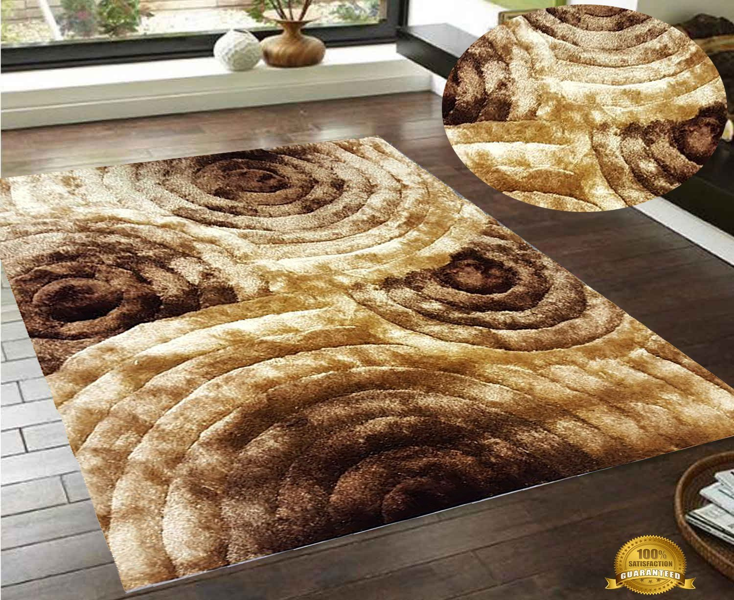Buy Brown Gold Beige Tan 3D Shaggy Area Rug 8x10 Feet Two Toned