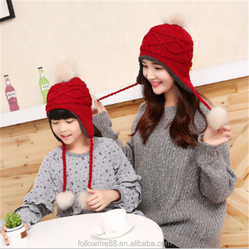 076130f0597f3 Mom and Baby Matching Knitted Hats Warm Crochet Beanie Winter Mink PomPom Kids  Children Mommy Hat