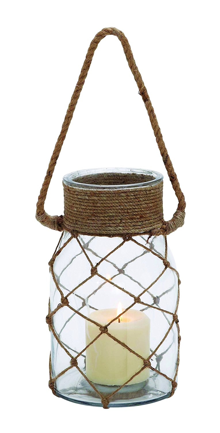 Plutus Brands Smart Styled Opaque Glass Rope Candle Lantern