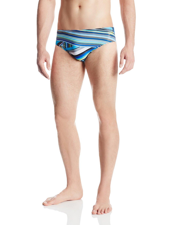 3549333058 Speedo Men's Endurance Lite Rainbow Stripe Water Polo Brief Swimsuit