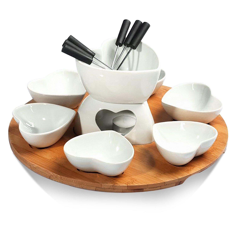 Perfect Gift Idea for Housewarming or Birthday Gift Zen Kitchen Fondue Pot Set Glazed Ceramic Fondue Set for Chocolate Fondue or Cheese Fondue