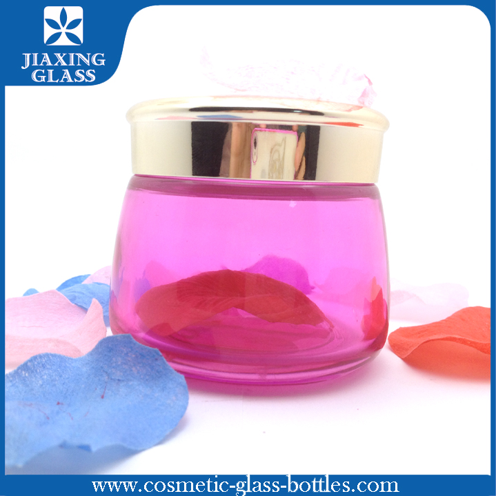 Modern design fancy shape 130g rose red clear glass jar cosmetic with aluminum cap for facial cream , mask with credit insurance