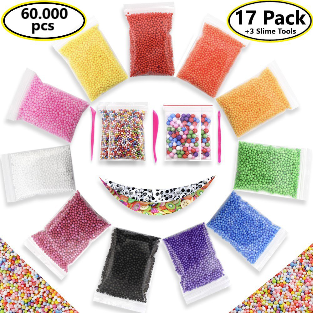 Foam Beads Slime Micro Floam Beads 17 pack Craft Foam Beads Slime Colorful Micro Foam Beads Balls DIY Slime 15 Bags (60000) Foam Balls 1000 pcs Fruit Slice 220 pcs Cute Eyes 3 Slime Tools from I-BARS