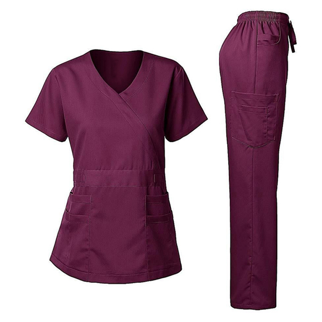 2019 New Style Medical Scrubs Cheap OEM Customized Scrub Sets Europe Hospital Women Medical Nurses Tops+Pants Uniforms