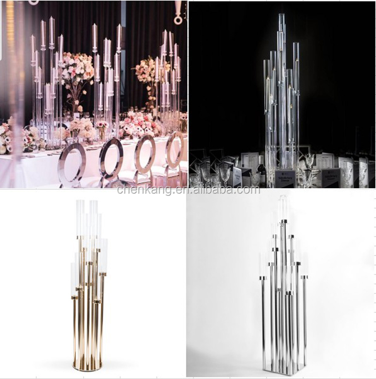 120cm 10 arms tall wedding metal cyllinder gold candle holder table centerpiece Kandelaber aus Metall