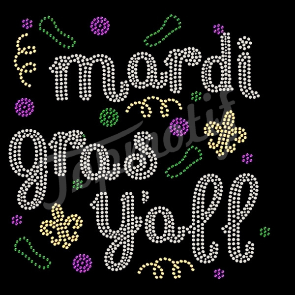 transfer press mardi gras rhinestone design template for holiday motif